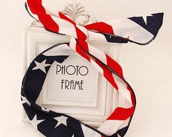 Flag like Wire Bunny Headband/ Hair Tie - American Flag and British Flag