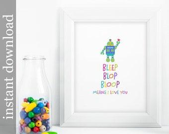 Robot Nursery, robot printable, nursery wall art, baby room decor, children's art, colorful print, colorful nursery art, nursery printable