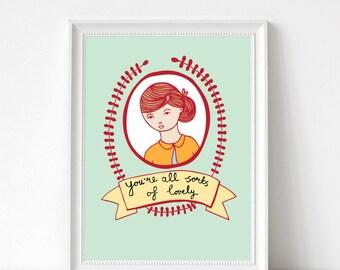 "Art Print - You're All Sorts Of Lovely | 300mm x 400mm / 12 x 16"" | Wall Decor | Art Poster | Nursery Art"