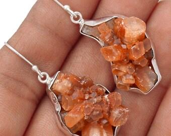 """Aragonite Star Cluster Earrings. 1 7/8"""" long. 7440"""