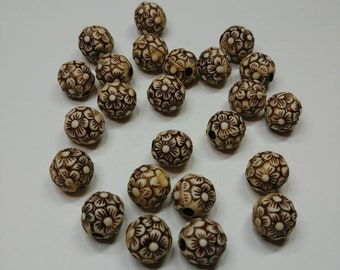 20 X 10mm bead, brown and tan flower bead.