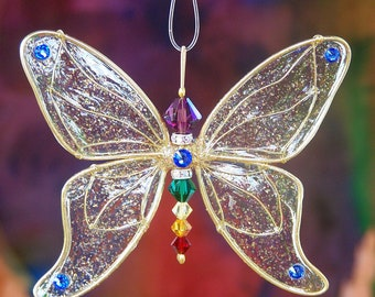 Suncatcher Butterfly - Birthstones & 28 More Swarovski Colors - Gold Toned