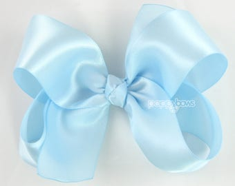 """Satin Hair Bow Light Blue, 4"""" Girls Hair Bows, Baby Hair Bows, Baby Blue Hair Bow, 4 Inch Bows, Big Hair Bows, Darling Special Occasion"""