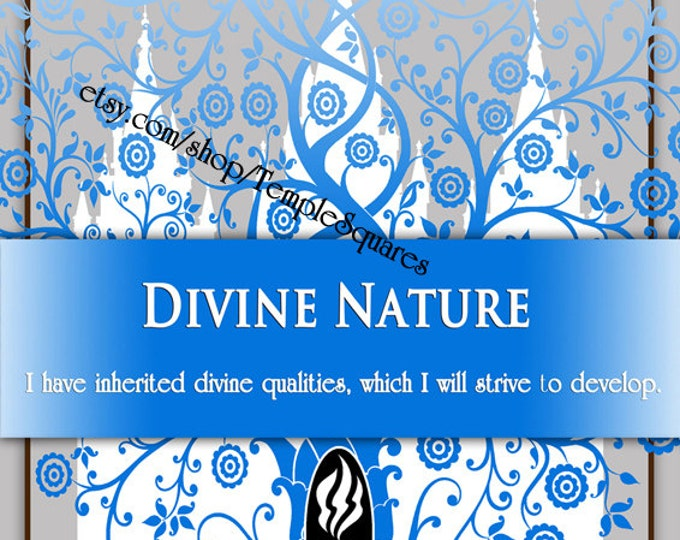 "Printable - 3 sizes! LDS Young Women Personal Progress Values ""Divine Nature"" Art 2014 Instant Download Digital Files"