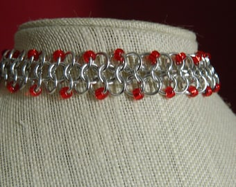 Handcrafted Beaded Chainmail Choker/ Anodized Aluminum/gothic/minimalist