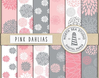 Dahlia Flower Digital Paper Pack | Scrapbook Paper | Printable Backgrounds | 12 JPG, 300dpi Files | BUY5FOR8