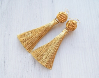Gold Tassle earrings - Long Silk Tassel Earrings - Fringe Lightweight silk tassel earrings - Bohemian Statement Earrings - Modern Earrings