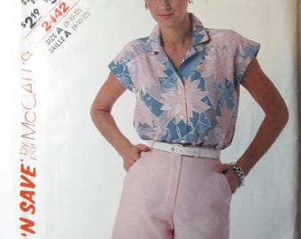 McCalls Stitch'nSave Pattern 2442 Vintage 1986 UNCUT size 8-10-12 misses top and shorts