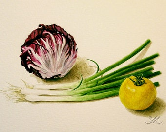 Radicchio Onion Tomato Still Life | Kitchen Art