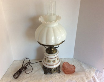 Gone with the Wind Table Lamp ~ Hurricane Lamp~ Brown White and Rust ~ Milk Glass Handpainted Boudoir Lamp, Globe