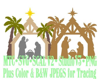 Christmas Nativity Scene #04 Cut Files MTC SvG SCAL Silhouette Format JPEGs PNG