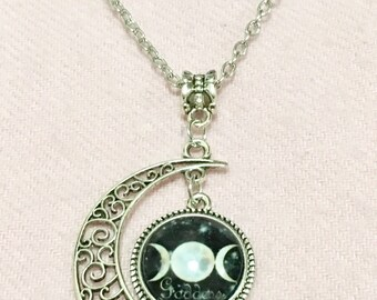 Crescent Triple Moon Goddess Pendant Necklace Full Moon Crescent Moon Jewelry New Wiccan Celestial