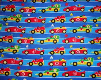 Blue Striped Race Car Fabric by the Yard