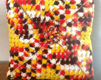 """Vintage 14"""" Hand Crocheted Afghan Throw Pillow Yellows, Reds, Browns, White"""