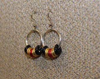 Aluminum and black, gold and red earrings