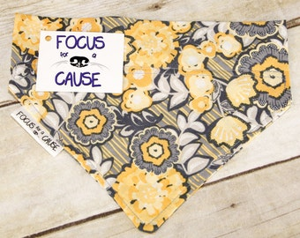 Dog Bandana, Mustard Yellow and Grey, Slide Over the Collar Dog Bandana, Contemporary Pet Bandana, by Focus for a Cause