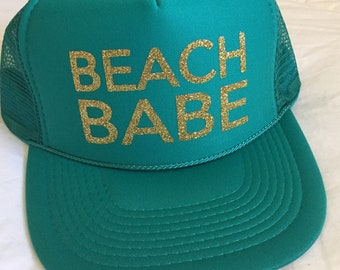 Beach babe hat-beach hat-beach trucker hat-summer hat-vacation hat