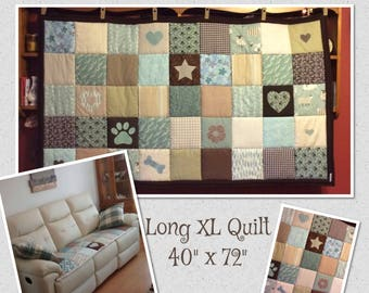 """Shabby Chic Throw, Patchwork Throw, Personalised Quilt, Sofa Throw, Pet Bedding, Nursery Quilt, Patchwork Blanket, LONG XL 40"""" x 72"""""""