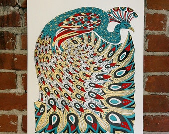 la Paon Nouveau - Handmade Art Print