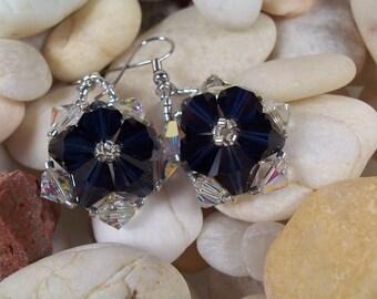 Crystal Flower Earrings, Beading Tutorial in PDF