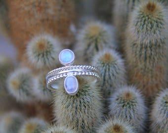 Venika Talisman Ring: Moonstone Ring, Sterling Silver Ring, Boho Ring, Gypsy Ring, Stone Ring, Statement Ring, Sunsara Jewellery