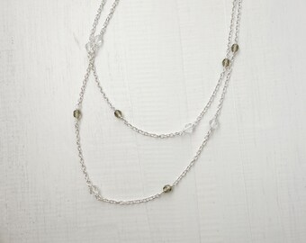 Minimal long necklace long chain necklace minimalist sparkly necklace glass beads elegant necklace for women