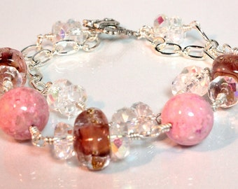 Lampwork and Crystal Bracelet, Pink, Rose and Lavender - Wistful