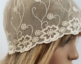 Iona- Custom Crochet Signature Lace Bridal Cap-CRBoggs Designs Original