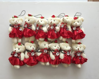 Party Favors ~~Set of 12 Red Teddy Bear, Baby shower ,Bear measures approximately 4.5 inches~~2 Dollars Each