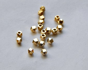4mm Brass Faceted Beads