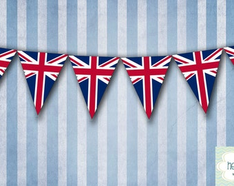 UK British Flag Union Jack Party Banner Bunting - Printable - FILE to PRINT diy