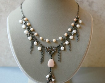 Peach Pearl, Sunstone, Crystal and Gunmetal Two Strand Cascading Chain Necklace