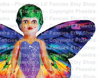 Phaedra's Rainbow Butterfly Vintage Dollies 1 - Digital A4 page Instant Download Junk Journal Collage Ephemera Mixed Media JPEG