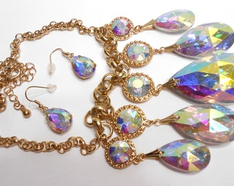 Large Aurora Borealis AB Crystal Rhinestone Tear Drop Bridal or Prom Necklace and Dangling Matching Earrings
