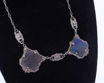 Antique Czech Necklace in Sterling Silver, Art Deco Marcasite Choker with Blue Glass Cabachons
