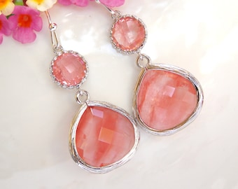 Wedding Jewelry , Coral Earrings, Silver, Peach, Grapefruit, Bridesmaid Earrings, Bridesmaid Gifts, Bridesmaid Jewelry, Dangle, Gift, D
