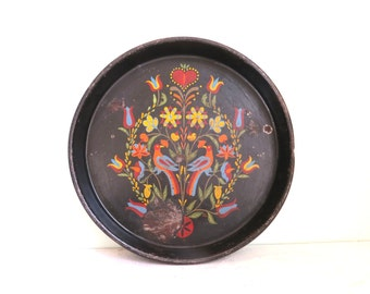 Signed Folk Art, Metal Serving Tray, Mid Century, Flowers Birds, Painted Toleware, Black Metal Tray, Round Metal Tray, Pennsylvania Dutch