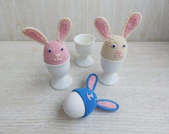 Crochet Easter Bunny Eggs Covers, Set of 3 Crochet Egg Cozy, Crochet Rabbits Home Decor