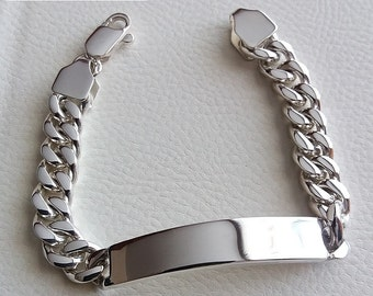 Mens id bracelet sterling silver curb links heavy wide lobster box clasp identity engraveable