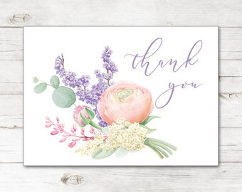 Bridal Shower Wedding Thank You Cards and Envelopes with Watercolor Spring Flowers Lilacs in Lavender and Gold TYB8028
