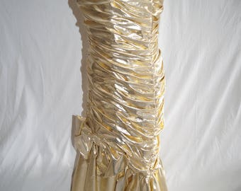 1980s John Charles Gold Lame Evening Dress, Party Frock