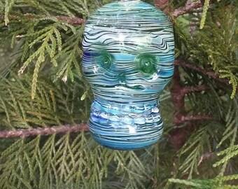 Handblown skull christmas ornament