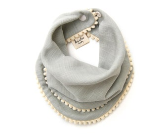 Pom Pom Bib for Girls, Drool Bib with Snaps, Super Soft 100% Cotton Muslin, One Size Reversible, Adjustable, Sage Green with Ivory Trim