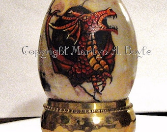 STONE DRAGON EGG; free shipping, hand painted red dragon, hatching, fantasy, shelf art, original art,