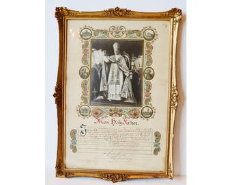 Gorgeous Gilt Framed 1928 Holy Father Certificate The Pope Vatican European Relic Wedding