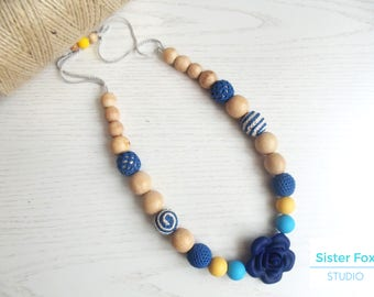 Nursing  necklace Silicone teething Crocheted teething Babywearing Breastfeeding Baby shower gift Mother's day sale Wooden beaded necklace
