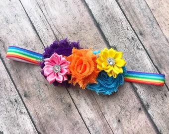 rainbow headband - rainbow baby headband - rainbow party headband - rainbow birthday headband - rainbow bow - rainbow baby gift