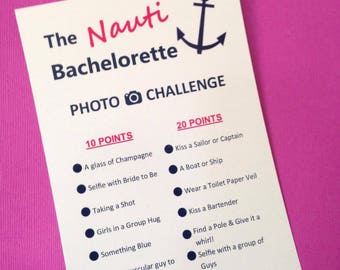 The Nauti Bachelorette Photo Challenge Game Cards - Scavenger Hunt - Bride's Crew - Nautical Hen's Party - Naughty Sailor - FREE POST AUS