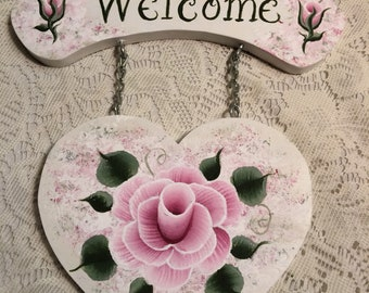 Hand Painted Victorian Pink Rose Heart Shaped Wooden Welcome Sign Shabby Cottage Chic ECS, CSSTEAM