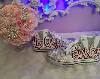 Quinceniera shoes / custom made bouquet